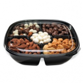 Fresh 'n Clear Bowl and Lid Combo, 48 oz with 5 Compartments, Black PET Plastic Base with Clear Lid