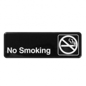 "Winco - ""No Smoking"" Sign, 9x3 Black Plastic"