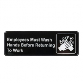 "Winco - ""Employees Must Wash Hands Before Returning to Work"" Sign, 9x3 Black Plastic"