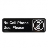 "Winco - ""No Cell Phone Use, Please"" Sign, 9x3 Black Plastic"