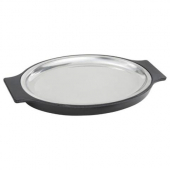"Winco - Sizzle Platter Set, 11"" Oval Stainless Steel Platter with Bakelite Underliner"