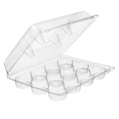 Inline Plastics - SureLock Hinged Lid Muffin/Cupcake Container holds 12, Clear PET Plastic, 13x10x4