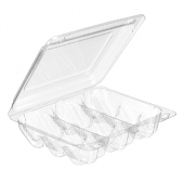 Surelock Hinged Lid Cookie Container, Clear PET Plastic, 9x6.5x2.25