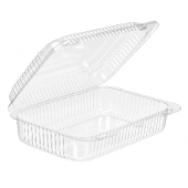 Surelock Hinged Lid Salad/Sandwich Container, Clear PET Plastic, 10x6.75x3