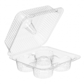 Inline Plastics - SureLock Hinged Lid Muffin/Cupcake Container holds 4, Clear PET Plastic, 6x6x3
