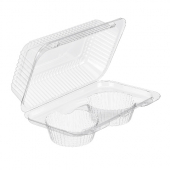 Inline Plastics - SureLock Hinged Lid Muffin/Cupcake Container holds 2, Clear PET Plastic, 9x6x4