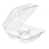 Inline Plastics - SureLock Hinged Lid Cupcake Container holds 4, Clear PET Plastic, 7.6x8.06x3.25