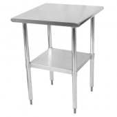 Work Table with Flat Top and Shelf, 24x30x35 Stainless Steel