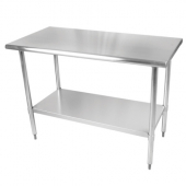 Work Table with Flat Top and Shelf, 30x12x35 Stainless Steel