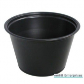 Amhil - Portion Cup, 4 oz, Black Plastic