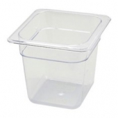 "Winco - Food Pan, 1/6 Size Clear PC Plastic, 5.5"" Deep"