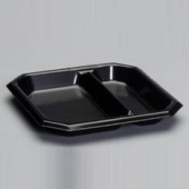 "Genpak - Plate, 2-Compartment 9"" Square Black Laminated Foam"