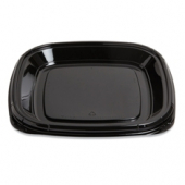 "Fresh 'n Clear Catering Tray, 11"" Black PET Plastic"
