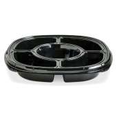 "Fresh 'n Clear Catering Tray with 5 Compartments, 12"" Black PET Plastic"
