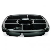 "Fresh 'n Clear Catering Tray with 7 Compartments, 14"" Black PET Plastic"