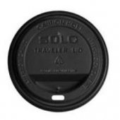 Solo - Lid, Black Poly Dome Hot Drink Lid with Sip Hole, Fits 12-24 oz