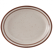 Tuxton - Bahamas Platter, 13.25x10.5 Eggshell with Brown Speckles