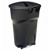 Rubbermaid - Garbage/Trash Can, Black 32 Gallon with Wheels