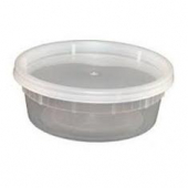 Deli Container with Lid, 8 oz Plastic