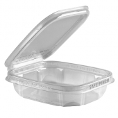 Anchor - Safe Pinch Tamper-Evident Container, 6x5 Clear Hinged RPET Plastic, 8 oz