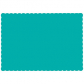 Hoffmaster - Placemat, Teal with Scalloped Edge, 9.5x13.5