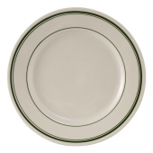 Tuxton - Green Bay Oval Plate, 9.625 Eggshell with Green Bands