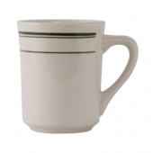 Tuxton - Green Bay Tiara Mug, 8 oz Eggshell with Green Bands