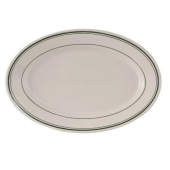 Tuxton - Green Bay Oval Platter, 9.375x6.5 Eggshell with Green Bands