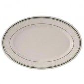 Tuxton - Green Bay Oval Platter, 11.625x8 Eggshell with Green Bands