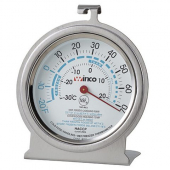 "Winco - Refrigerator/Freezer Thermometer, -20 to -70 degrees F, 3"" Dial with Hanging Hook and Standi"