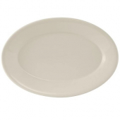 Tuxton - Reno Platter with Wide Rim, 9.375x6.5 Oval Eggshell China