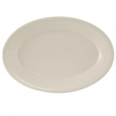 Tuxton - Reno Platter with Wide Rim, 13.5x9 Oval Eggshell China