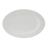 Tuxton - Reno Platter with Wide Rim, 15.125x10.25 Oval Eggshell China