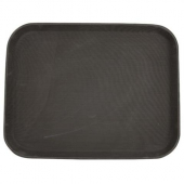 Winco - Serving Tray, 14x18 Rectangular Brown Easy-Hold Rubber-Lined