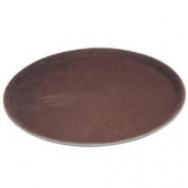 "Winco - Serving Tray, 16"" Round Brown Easy-Hold Rubber-Lined"