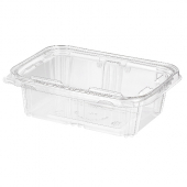 Safe-T-Fresh Container, 24 oz Tamper Evident Tear Strip Lock, Clear PET Plastic Hinged Container