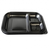 Food Container Base, 3-Compartment Black PP Plastic, 12x8.25x1.4