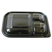 Food Container Lid, 3-Compartment Clear PET Plastic, 12x8.25x1.75