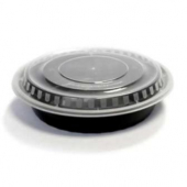 Food Container, 24 oz Round PP Black Base with Clear Lid