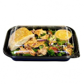 Food Container, 12x8.5x2 Black PP Plastic Base, Microwaveable