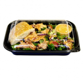 Food Container Base, 10x7x1.75 Black PP Plastic