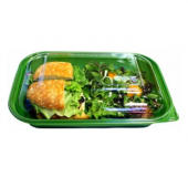 Food Container Base, 10x7x2.5 Green PP Plastic