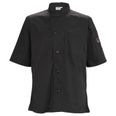 Winco - Chef Shirt, Ventilated with Tapered Fit, Black, Small