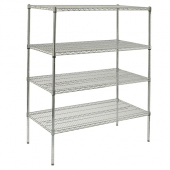 Winco - Wire Shelving Set, 24x48x86 Chrome Plated with 5 Shelves