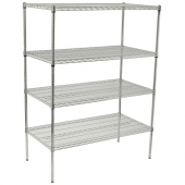 Wire Shelving Set, 24x48x72 Chrome Plated with 4 Shelves