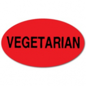 "Label, 'Vegetarian', 1.5"" Radiant Red Oval"