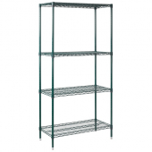Winco - Wire Shelving Set, 24x36x72 Green Epoxy Coated with 4 Shelves
