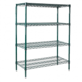 Winco - Wire Shelving Set, 24x48x72 Green Epoxy Coated with 4 Shelves