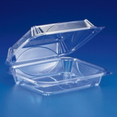Container, Hinged Clear Plastic, 9x8x3