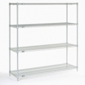 Nexel - Starter Shelving Unit, 72x24x63 Wire with 4 Shelves, 4 Posts and Plastic Clips, Poly-Z-Brite